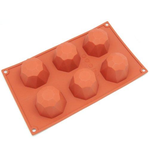 Freshware 6-Cavity Diamond Cake Silicone Mold and Baking Pan