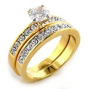 CZ WEDDING RINGS - Gold Tone Solitaire CZ Engagement Ring and Wedding Band Set