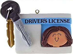 Female Brunette Driver's License Christmas Ornament