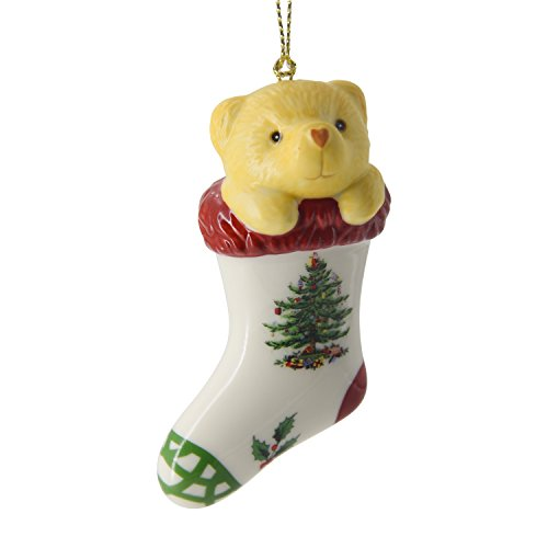 Spode Christmas Tree Ornament, Teddy Bear in Stocking