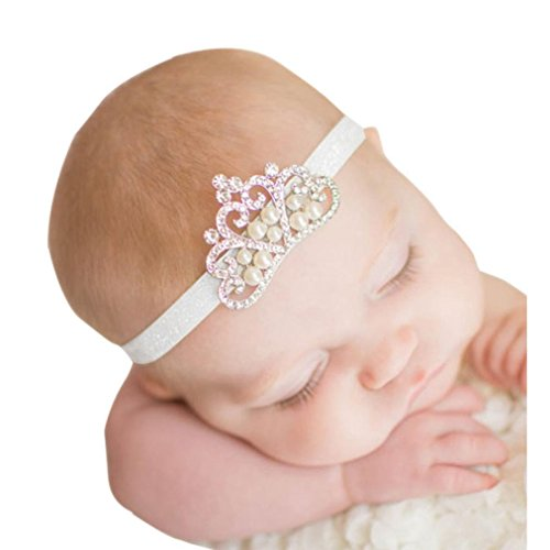 Gillberry Crown hair band Princess Baby Girl Crystal Pearl Crown Hairband (White) (Wet Wipes Toddler compare prices)