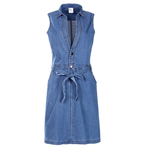 NONOSIZE Women's Button Down V-neck Sleeveless Pockets Casual Jean Midi Dress Denim Belt Dresses