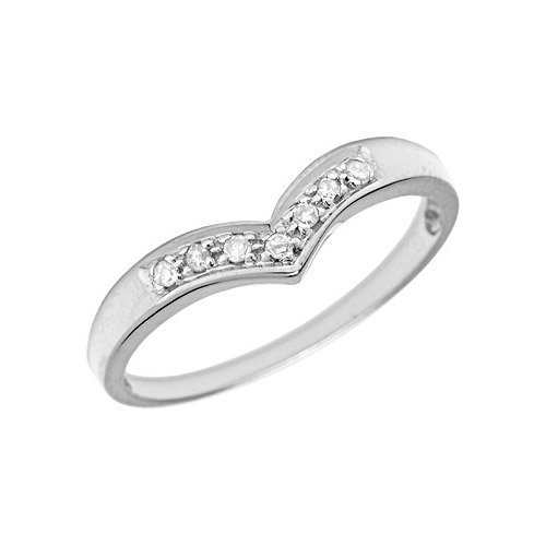 10K White Gold Diamond Chevron Ring (Size 10.5)