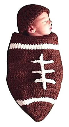 Baby Boy Girl Crochet NFL Football Cocoon with Beanie Hat Set Newborn Costume Photography Props BROWN
