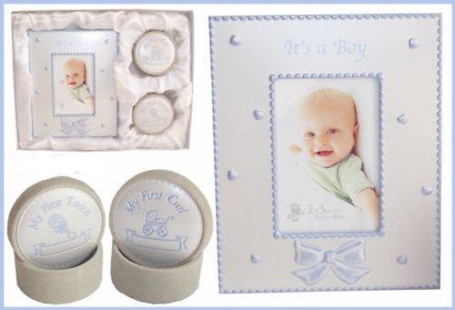Baby KEEPSAKE Tooth/Curl Trinket & Frame Gift Set BOY