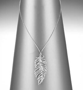Autograph Diamanté Feather Pendant Necklace