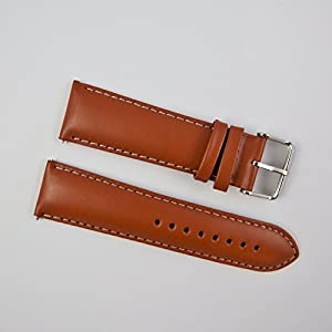 24mm Tan / White Genuine Smooth Leather Watch Strap Straps Band Mens Gents Padded SS Buckle
