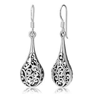925 Oxidized Sterling Silver Bali Inspired Filigree Puffed Teardrop Dangle Hook Earrings 1.26'' Jewelry for Women - Nickel Free by Chuvora