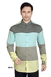 Multicolor Linen Horizontal Stripe Shirt