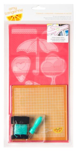 American Crafts 5-Piece Teammate Amy Tangerine Plus One Embroidery Stencil Kit
