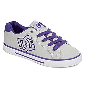 DC Women's Chelsea TX Skate Shoe,Grey/Purple,5 B US