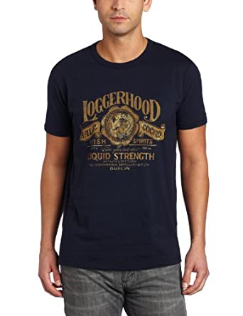 Lucky Brand Men's Loggerhood Whiskey Graphic Tee, American Navy, X-Large