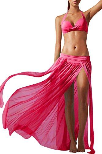 JudyBridal Women's Sexy Side Slit Mesh Beach Skirt Swimsuit Cover Ups Swimwear (Fuchsia) (Sexy Long Skirts)