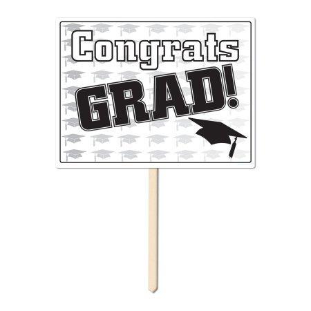 Plastic Congrats Grad Yard Sign (black) Party Accessory  (1 count)