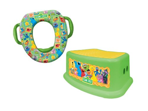 Sesame Street Potty and Step Stool Combo Set, Framed Friends
