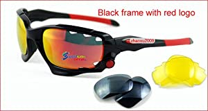 New 3 Replaceabl e Lens Glasses Cycling Sports Sunglasses Freedom to Choose Color Sport Sunglasses Set / Cycling Glasses / Running Glasses / Ski Glasses / 2 Exchangeable Lenses + Storage Box / Excellent Pricing for the US Market / Excellent Eye Protection / Ultra-Lightweight / Made from Highly Flexible Grilimid TR 90 Sports Frame/ Free Shipping/ Excellent gift for your sporting friends and family/ German Engineered