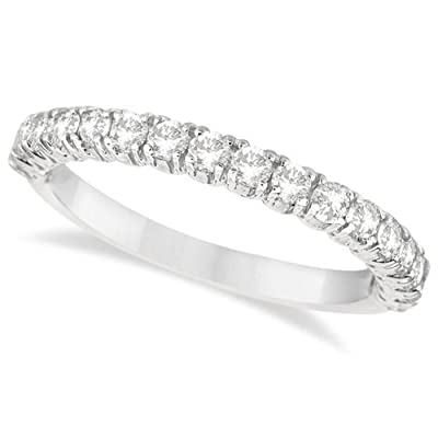Allurez Half-Eternity Pave-Set Diamond Stacking Ring Palladium (0.75ct)
