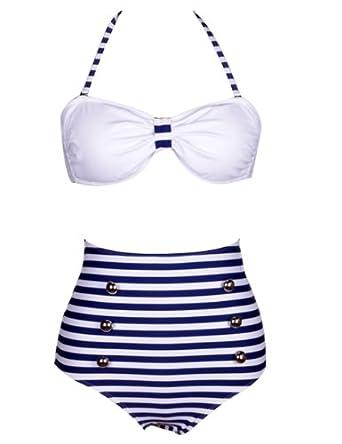 Ninimour- Retro 50s Pinup Rockabilly Vintage High Waist Bikini Swimwear Swimsuits (S, Blue/White)