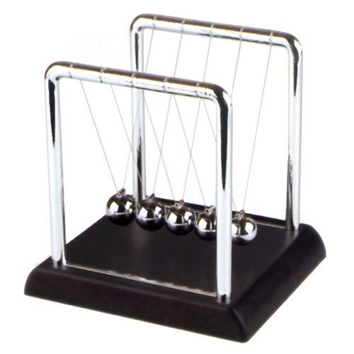 Newton's Cradle - 4 inch, Plastic Base, Black - 1