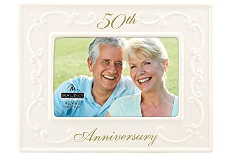 Malden Glazed Ceramic 50th Anniversary Picture Frame, 4-Inch by 6-Inch