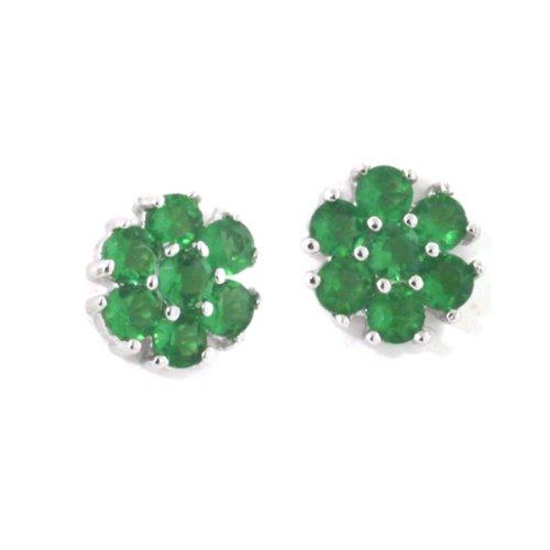 Sterling Silver Green Emerald CZ Daisy Flower Stud Earrings