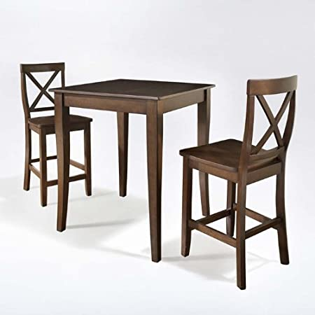 3-Pc Pub Dining Set in Vintage Mahogany Finish