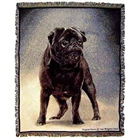 Black Pug Throw