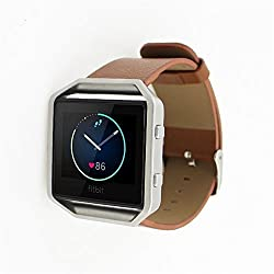 Fitbit Blaze Replacement Band,DAYJOY Elegant Design Genuine Leather Watch Strap Adjustbable Wrist Band for Fitbit Blaze (BROWN,Small Size)