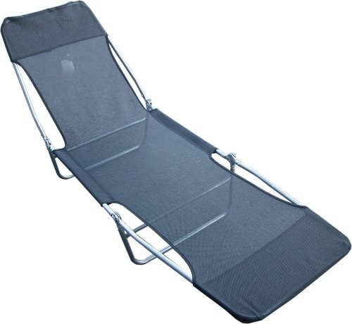 Black Textoline Folding Black Reclining Go Flat Sun Lounger Collapsible Tan Bed