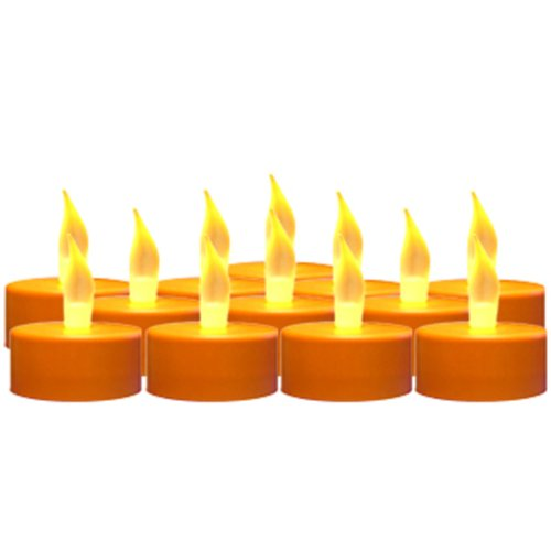 Mr. Light Set Of 12 Battery Operated Pumpkin Color Tealights W/Flickering Amber Leds