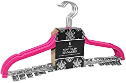 Signature Home Velvet Skirt/Pant Hangers with Metal Clips (Set of 6), Pink
