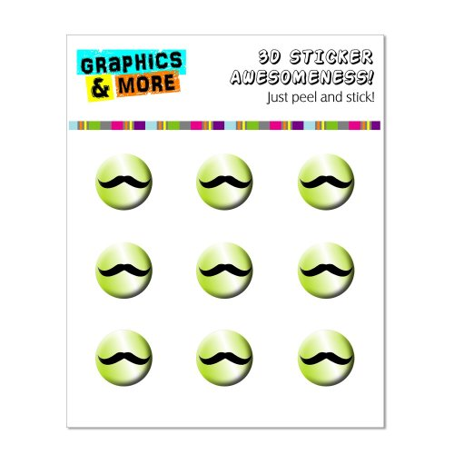 Graphics and More Mustache Funny Lime Green Home Button Stickers Fits Apple iPhone 4/4S/5/5C/5S, iPad, iPod Touch - Non-Retail Packaging - Clear