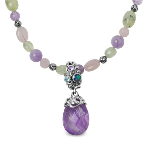 Carolyn Pollack Sterling Silver Pastel Sincere Joy Beaded Necklace with Amethyst Enhancer