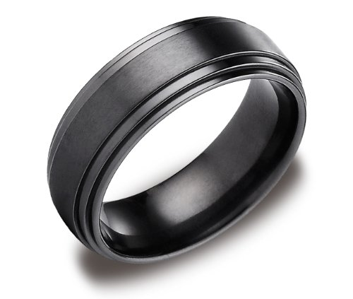 Men's Black Titanium 8mm Comfort Fit Wedding Ring Band Satin Center and High Polish Double Edge, Size 9.5