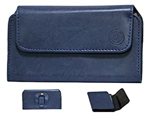 Jo Jo A4 Nillofer Belt Case Mobile Leather Carry Pouch Holder Cover Clip For Micromax Canvas Fire 3 A096 Dark Blue