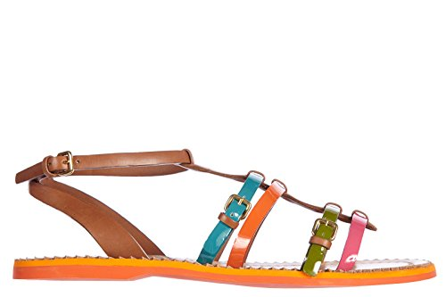 Car Shoe sandali donna in pelle originale multicolor marrone EU 37 KDX25K 3AQVF0055