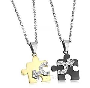 Amazon.com: Titanium Puzzle Cz Pendant with Stainless Steel Chain