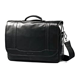 Samsonite Colombian Leather Flapover Briefcase, Black, One Size