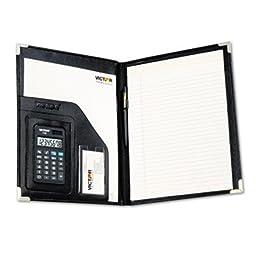 Pad Holder w/Calculator, Vinyl/Pewter Corners, File Slots, Writing Pad, Black, Sold as 1 Each