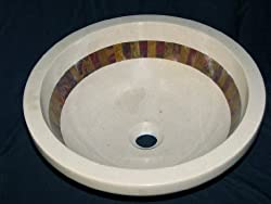 Stunning Italian Verona Marble Bathroom Sink Above Counter or Drop-in with Multi Red Onyx Mosaic Inlay - Gorgeous Product
