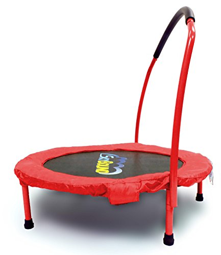SkyBound-Spring-Free-Mini-Trampoline-with-Handle-Bar-Red