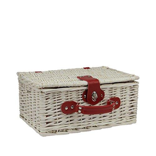 Picnic Basket Dish Set : Person hand woven white washed willow picnic basket set