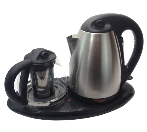 Royal Dual Electric Kettle and Tea Maker Set Stainless Steel & Glass & Keep Tea Warm Tray