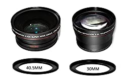 40.5MM & 37MM 2.5x Telephoto and 0.43x Wide Angle w/ Macro Attachment Conversion Lenses For Olympus PEN and Panasonic LUMIX Micro 4/3 Cameras with 37mm or 40.5mm Lens Thread