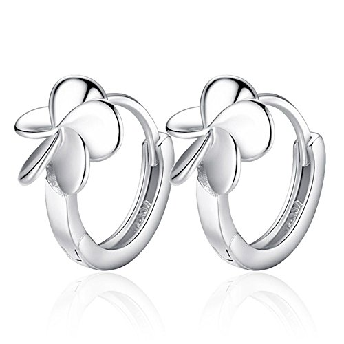 [Fashion Womens 925 Sterling Silver Lucky Leaf Floral Chunky Hoop Earrings] (Hindu Bride Costume)