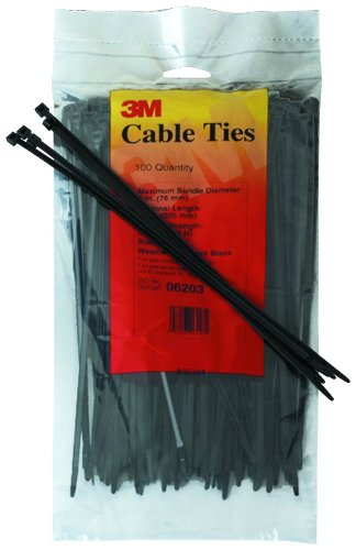 3M 06201 Weather-Resistant Intermediate Cable Tie, 6-Inch, Black, 100-Count