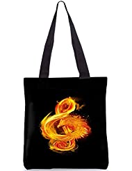 Snoogg Music Fire Bird Designer Poly Canvas Fashion Printed Shopping Shoulder Lunch Tote Bag For Women