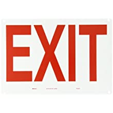"Brady 22490 10"" Height, 14"" Width, B-401 Plastic, Red On White Color Exit And Directional Sign, Legend ""Exit"""