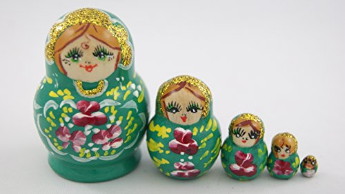 [Small Toy 5pcs Nesting Dolls Wooden Gift Handmade Emerald Green with Madder Lake Red Flowers] (Babushka Doll Costume)