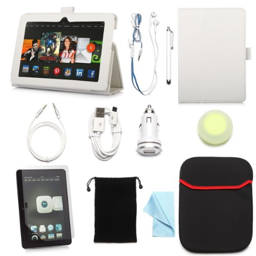 """Arion Kindle 11-Item Accessory Bundle Kit For New Amazon Kindle Fire Hdx 7"""" Tablet - Foilo Stand Pu Leather Case, Screen Protector, Cleaning Cloth, Stylus Pen,Car Charger,Usb Cable, Aux Cable, Earphone, Wire-Holding Box, Sleeve Case, Drawstring Travel Pou"""